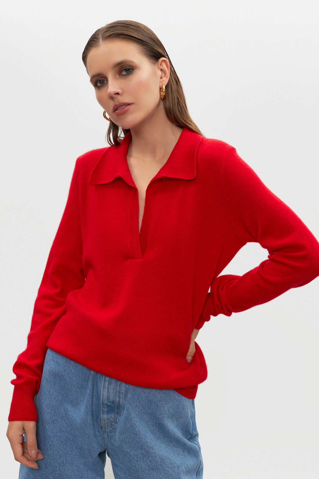 Sweater polo 100% cashmere, Red, S