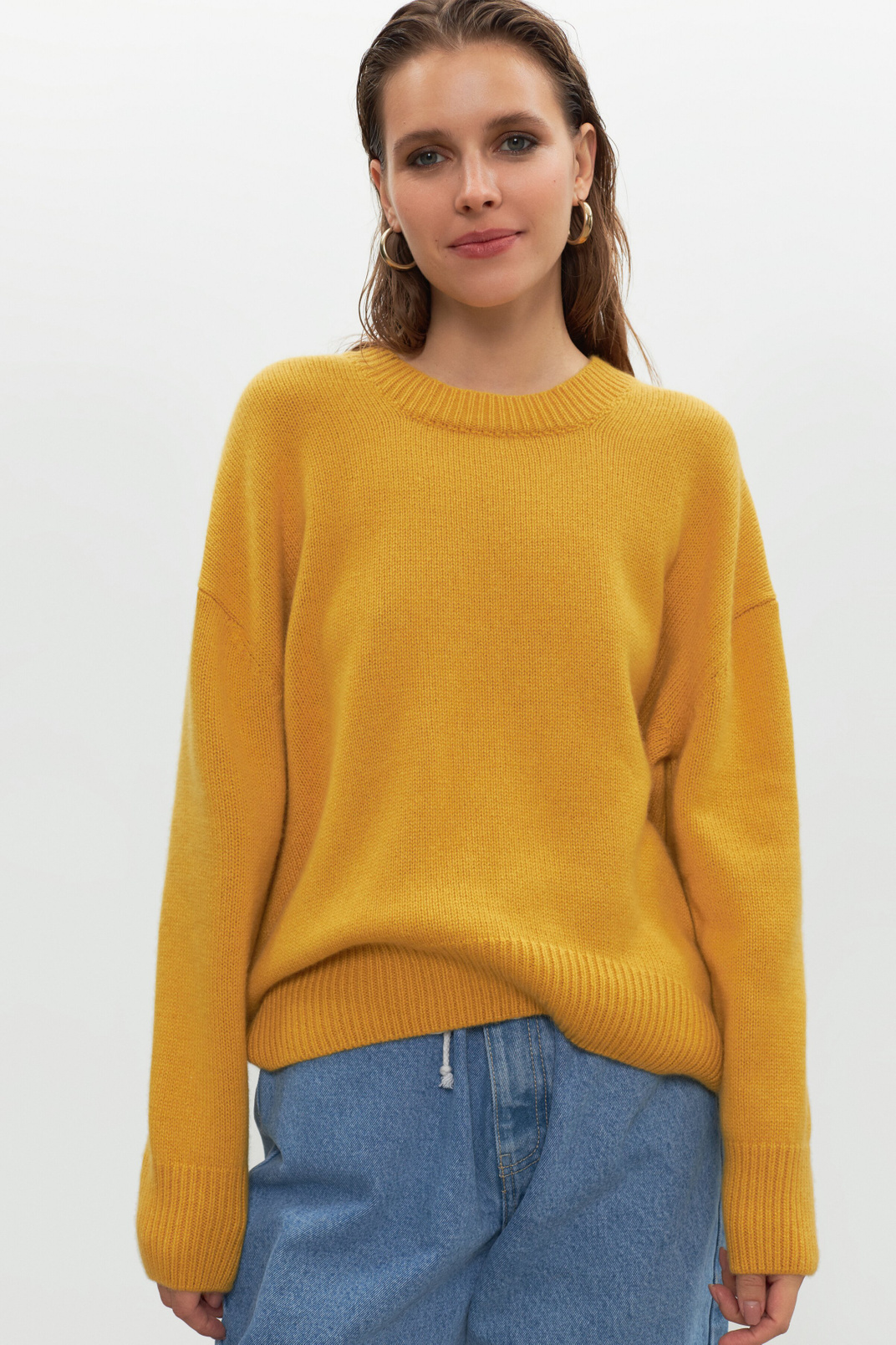 Oversize jumper 100% cashmere, Yellow, S