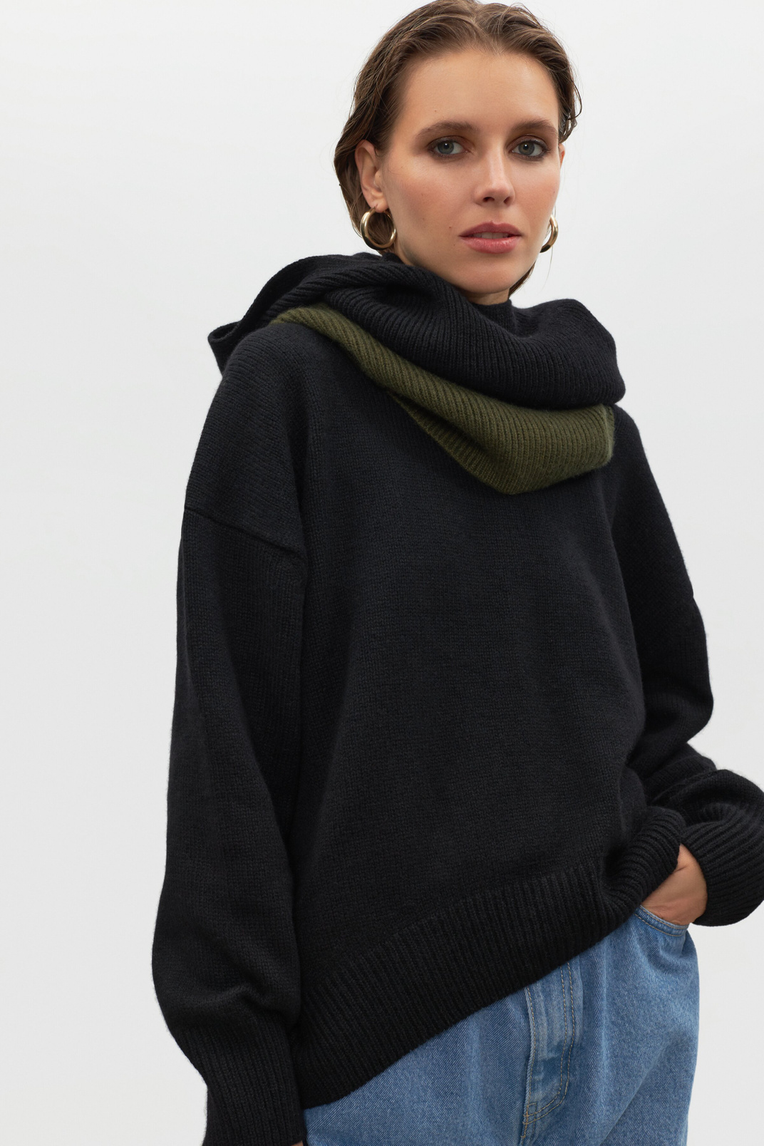 Ribby hood 100% cashmere, Black, one size