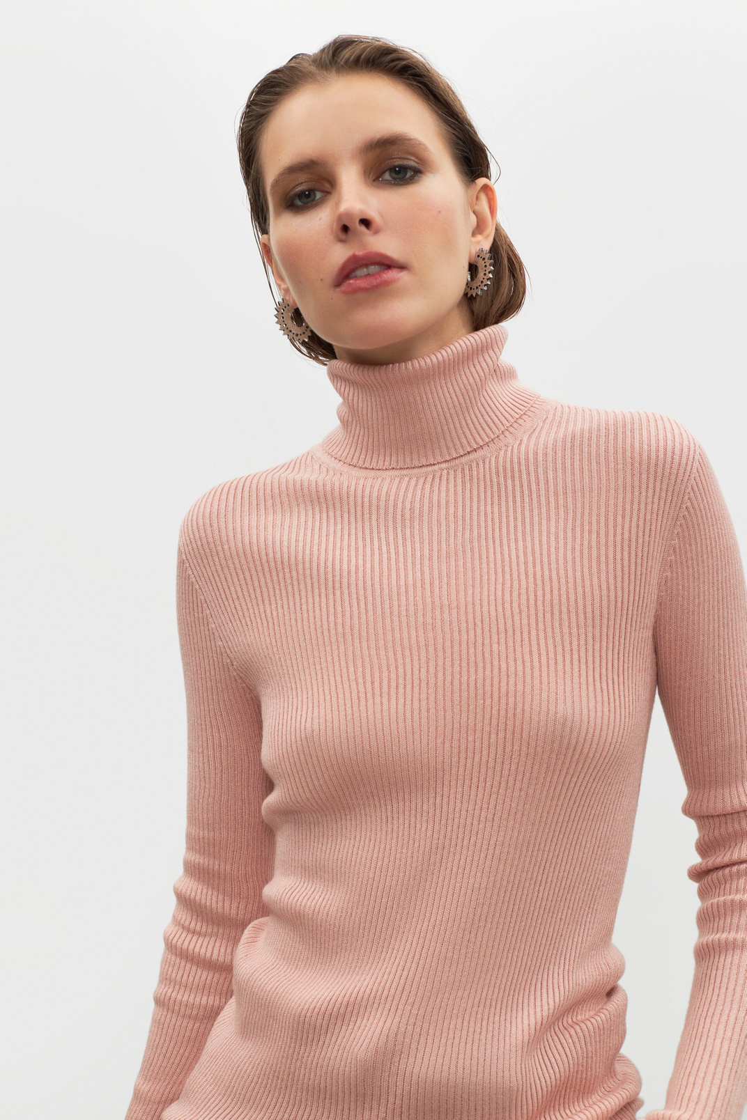Turtleneck viscose, Пудровий, XS