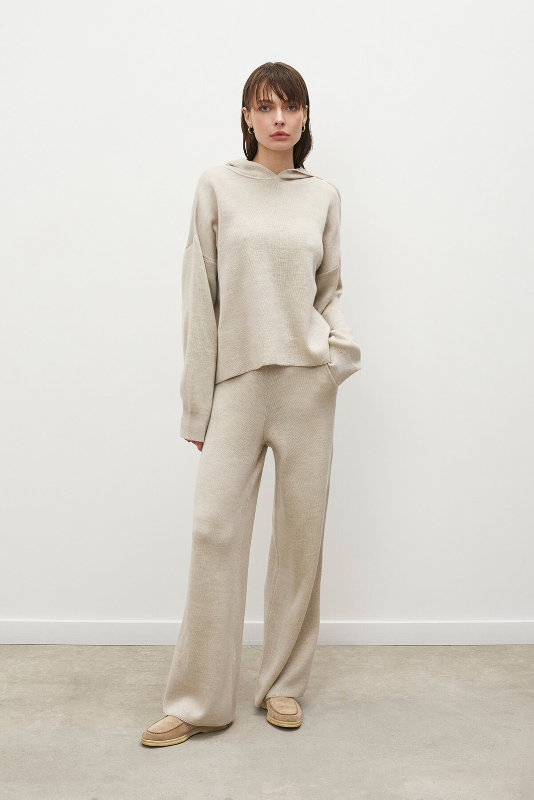 Knitted trousers, Milky, XS