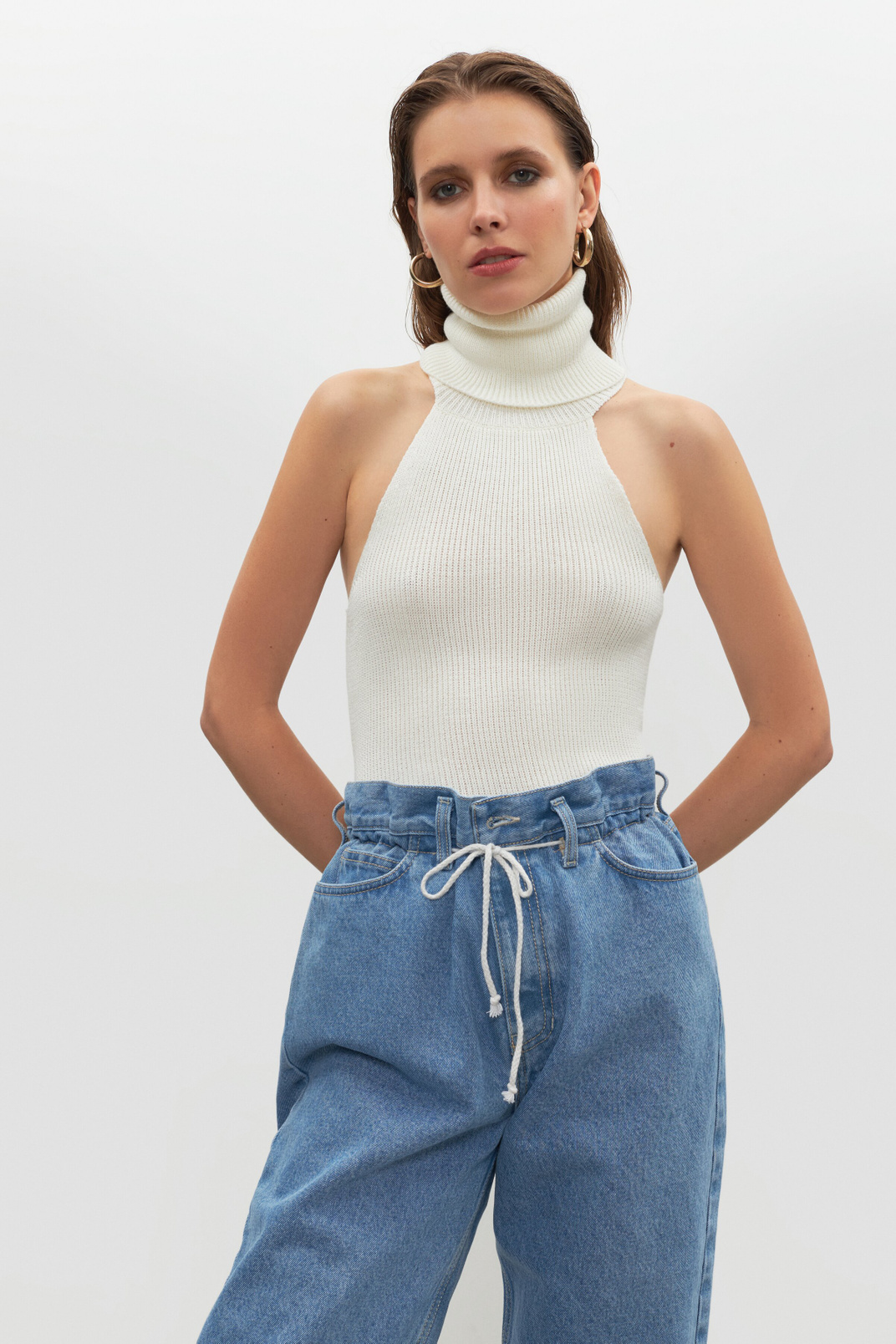 Sleeveless turtleneck, Молочний, XS