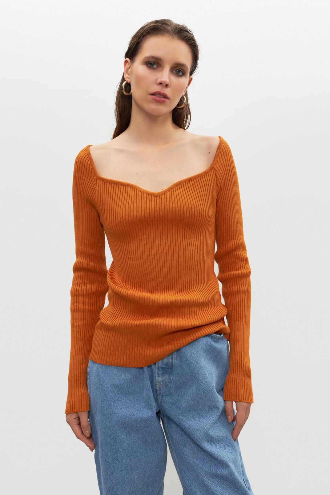 Long sleeve bustier, Orange, S