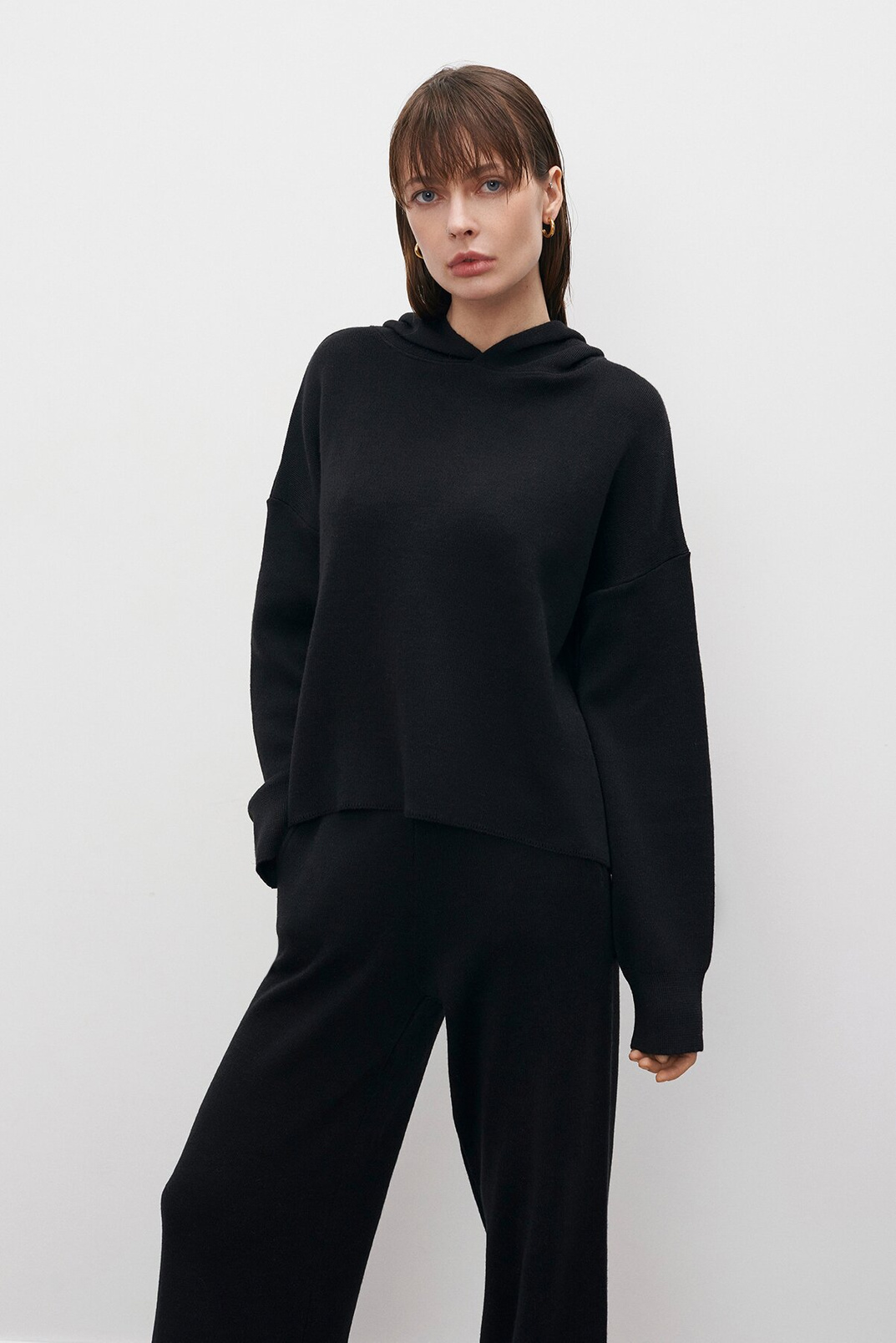 Knitted hoodie, Black, XS-S