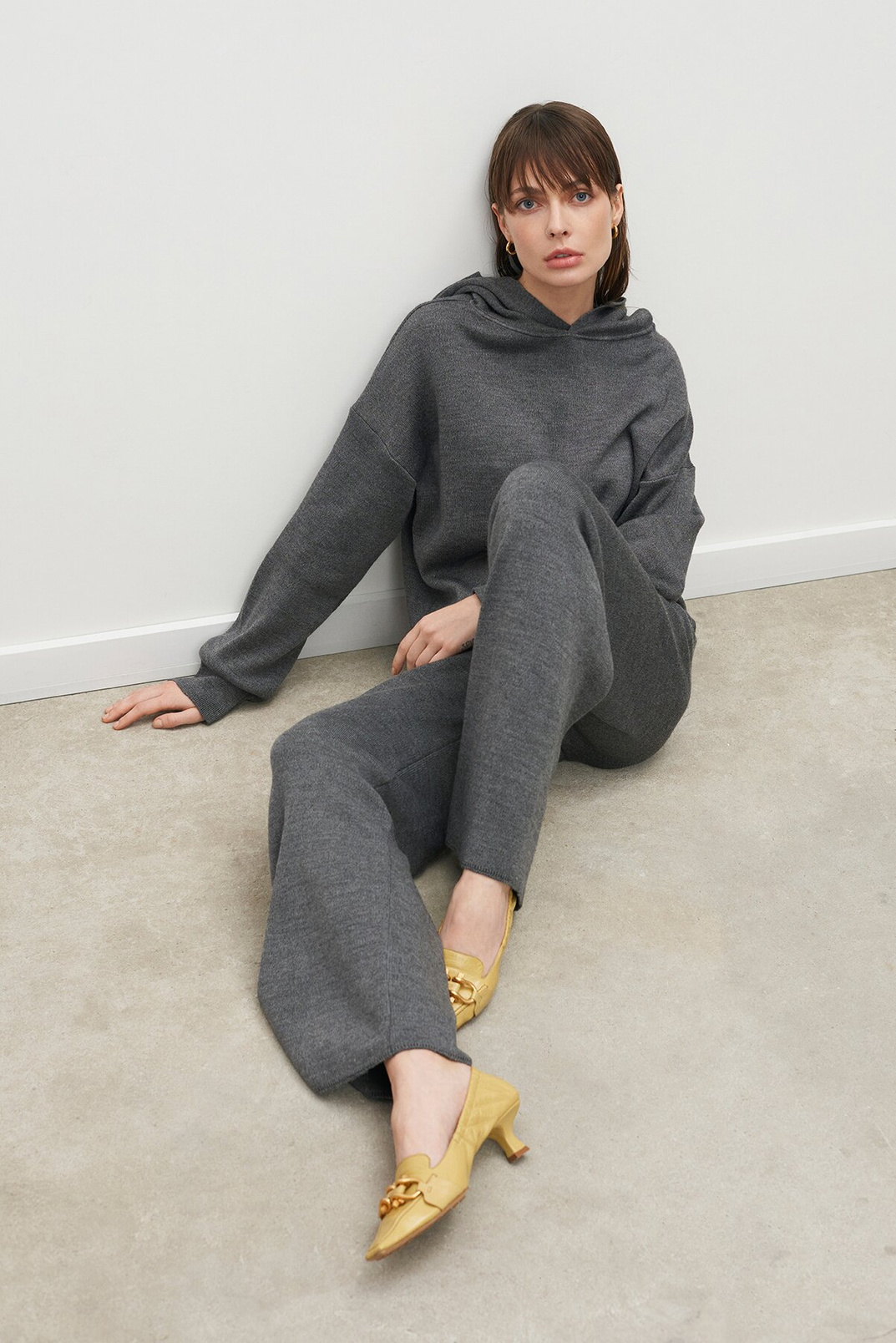 Knitted hoodie, Grey, XS-S
