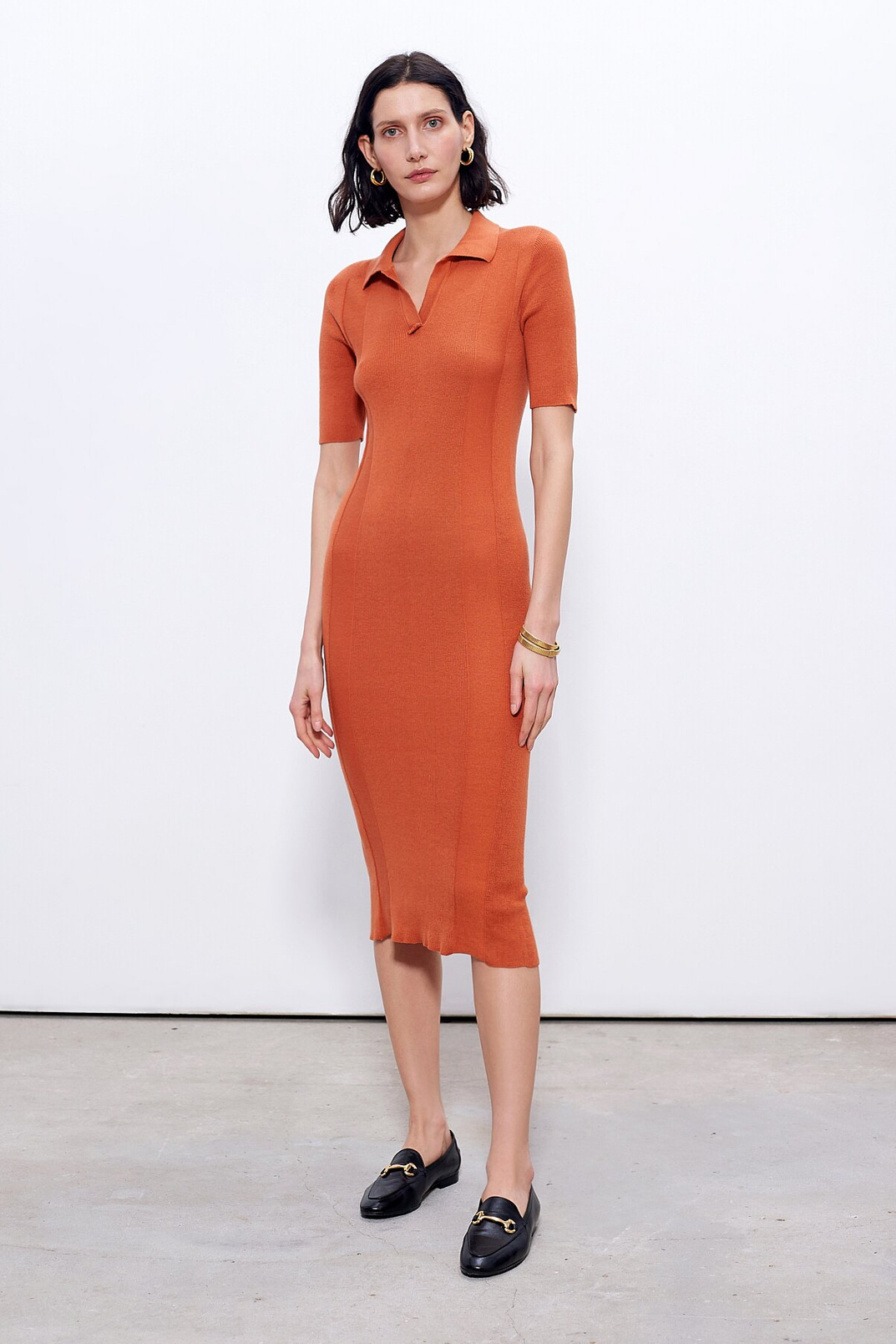 Knitted Polo Dress, Теракотовий, M