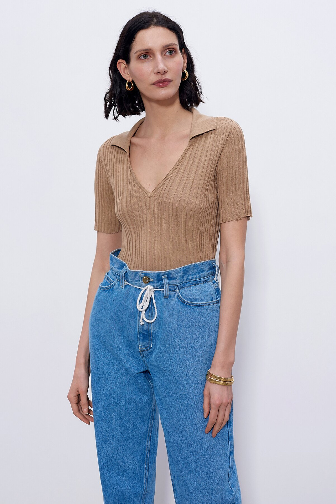 Jumper with collar, Бежевый, XS