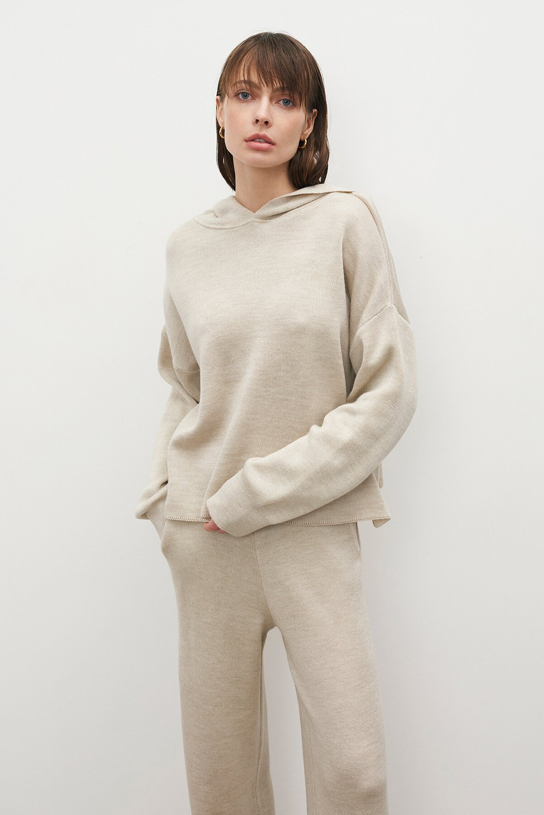 Knitted hoodie, Milky, XS-S