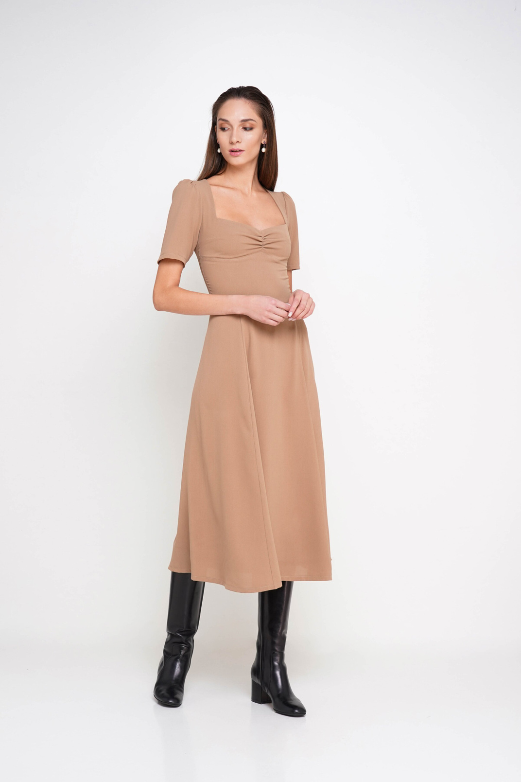 Dress with short sleeves, Бежевый, XS
